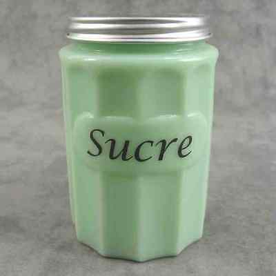 JADEITE GREEN GLASS FRENCH SUCRE Sugar CANISTER w/ Metal Lid ~ COLUMN DESIGN ~