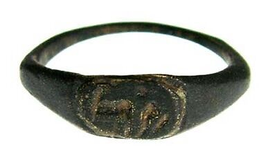 ANCIENT ROMAN BRONZE RING WITH PRIEST & OXEN PLOWING c.50 AD - SIZE 5 #91