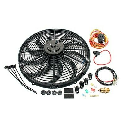 "High CFM Electric Curved S-Blade 16"" Radiator Cooling Fan w/ Wiring Harness Kit"