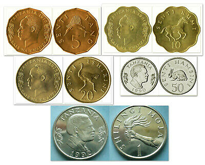 Tanzania 5 & 10 & 20 & 50 Senti & 1 Shillingi 5 Uncirculated Coin Set