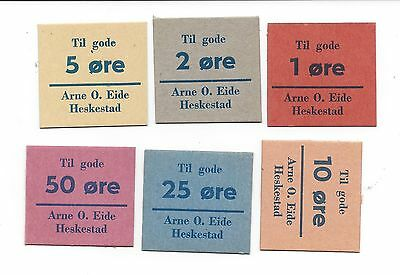 Norway Heskestad Arne O. Eide 1, 2, 5, 10,25, 50 Ore set of 6 Chits all UNC SB--