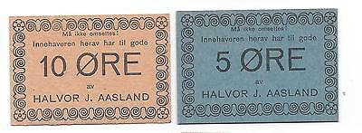 Norway WW2 emergency small change Halvor J. Aasland 5 Ore & 10 Ore both UNC