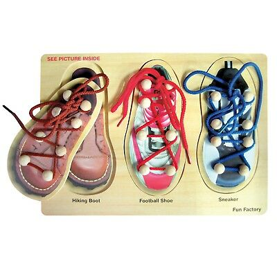 NEW Fun Factory Wooden Shoe Lacing Puzzle Educational Toy Learn to Tie Laces