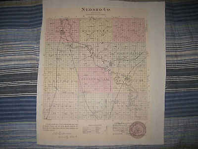 Antique 1887 Neosho Ness County Chanute Osage Mission Kansas Handcolored Map Nr