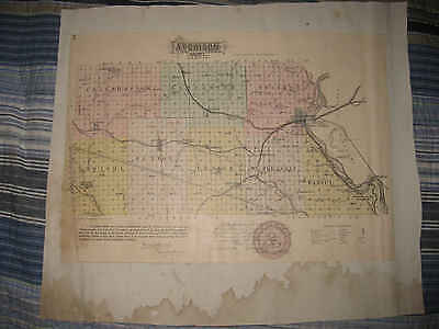 Rare Antique 1887 Atchison Anderson County Effingham Kansas Handcolored Map Nr