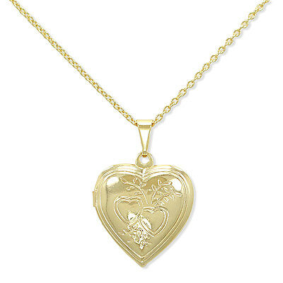 Gold Filled 18k Pendant Heart Love Photo LOCKET Necklace Memory Charm & Chain
