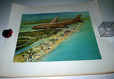 Vintage Rare National Airlines NAL Airplane 747 Wings Miami Beach FL Large Print