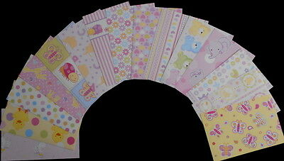 "Scrapbooking  Papers x 15  ****BABY GIRL****  15cm x 10cm  (6"" x 4"")"