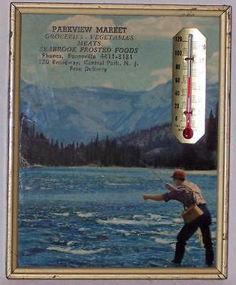 Vintage Parkview Market Central Park NJ Advertising Fishing Picture Thermometer