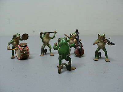 "Adorable 5-Pc. Vienna Bronze Miniature ""frog Band"" Figurines"