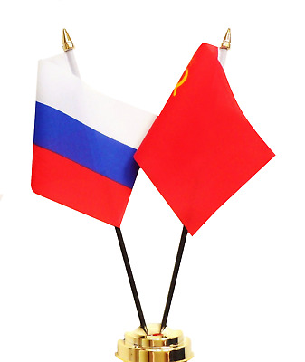 Russian Federation & USSR Soviet Union Russia Double Friendship Table Flag Set