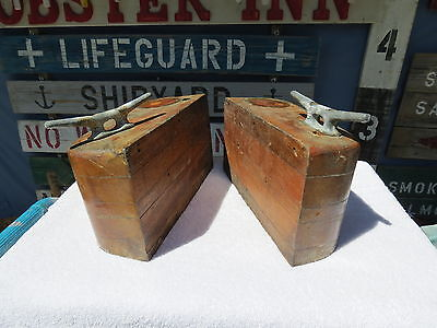 Unmatched Pair Old Wood Stands With Boat Cleats Book Ends Nautical Decor