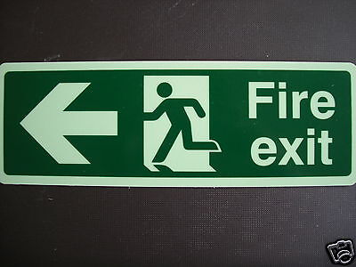 £2.28 Fire Exit Sign Left, 300x100 Photoluminescent Rigid