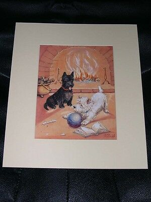 ANTIQUE SCOTTISH TERRIER & WEST HIGHLAND WHITE TERRIER DOG PAINTING 1936 SIGNED