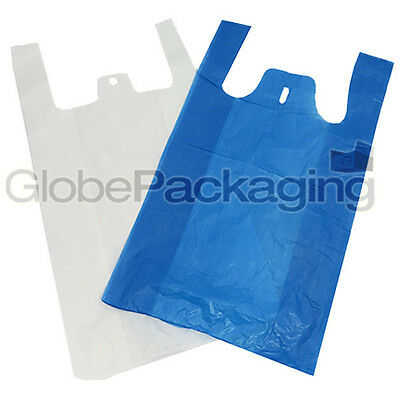 """HIGH QUALITY PLASTIC VEST CARRIER BAGS BLUE OR WHITE 11""""x17""""x21"""" *ALL QTY'S*"""