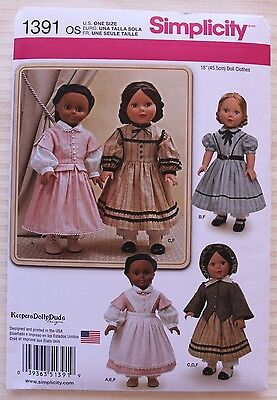 """18"""" GIRL DOLL CLOTHES Simplicity Sewing Pattern 1391 American Made NEW Uncut"""