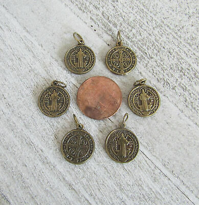 """Lot 6 Holy Medal Charms Italy ~ St. Saint BENEDICT 1/2"""" SMALL M110 finish BRONZE"""