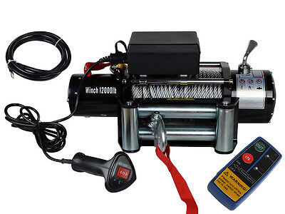 12V 12000LB Electric Recovery Winch For Jeep Truck SUV Trailer Wireless Remote