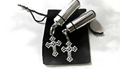 Set of TWO Silver Cross ANOINTING OIL Keychain Keepsakes with Black Velvet Pouch