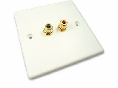 RCA Phono Wall Plate Twin RCA Audio Socket Faceplate No Soldering Plug and Play