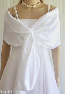 White Satin Pull-through Shawl Wrap Scarf Perfect for Bridal Prom Formal NWT !!
