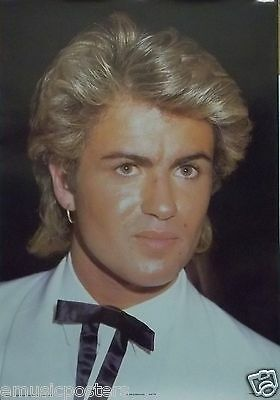 "GEORGE MICHAEL ""WEARING BLACK TIE"" COMMERCIAL POSTER FROM 1985 - Wham! Pop Music"