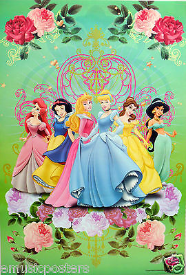 "DISNEY ""PRINCESSES ENCIRCLED BY  ROSES"" POSTER- Sleeping Beauty,Cinderella,Belle"