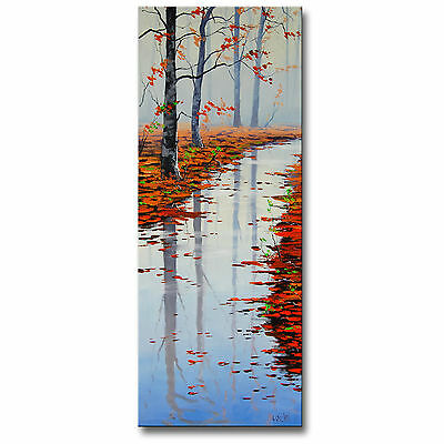 LARGE VERTICAL AUTUMN FALL RIVER IMPRESSIONIST LANDSCAPE ORIGINAL OIL Painting
