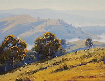 SHEEP FARM LANDSCAPE PAINTING BLUE MOUNTAINS VALLEY FINE ART by G. Gercken