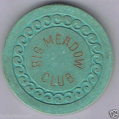 Big Meadow Club Green Wave Mold Roulette Poker Casino Chip Lovelock Nevada
