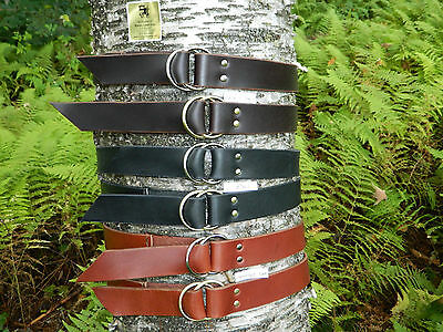 "Handmade Double Ring Leather Belt Men Women 1 3/4"" Inch Wide Black Brown YOUR SZ"