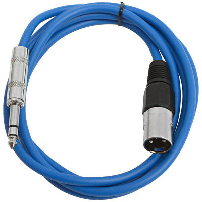 """SEISMIC AUDIO Blue 1/4"""" TRS to XLR Male 6' Patch Cable"""