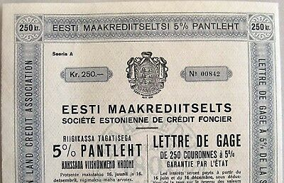 ESTONIA Land CREDIT Society Mortgage-BOND 250 KROONI 1938 UNC with 20 COUPONS