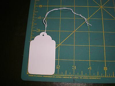 "100 Size 8 Price Tags with String - WHITE -  1-11/16"" x 2-3/4"""