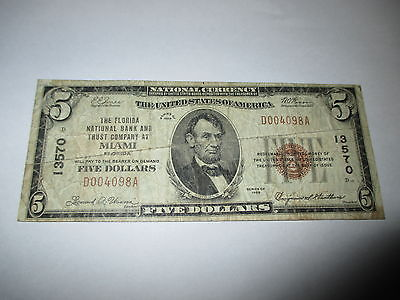 $5 1929 Miami Florida FL National Currency Bank Note Bill!  Ch. #13570 Fine!