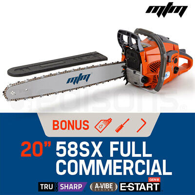 """NEW MTM 58cc Petrol Commercial Chainsaw 20"""" Bar E-Start Tree Pruning Chain Saw"""