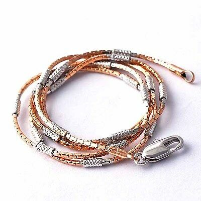 """Chic Rose Gold Filled/925 Sterling Silver bead Womens Snake Necklace 18"""" A1989"""