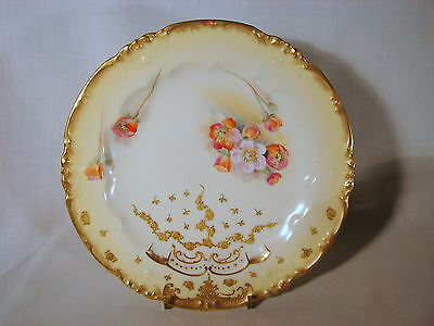 Old Delinieres & Co Limoges France Heavily Gold Decorated HPd 8-1/2in Plate Nice