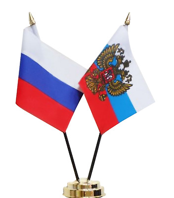 Russian Federation Russia & Presidential Standard Friendship Table Flag Set