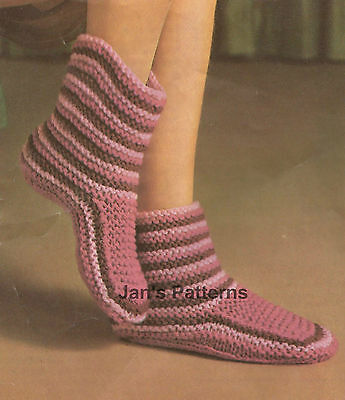 Vintage Knitting Pattern For Cosy Slippers / Slipper Boots - Easy - 2 Sizes  ...
