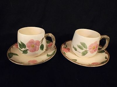 Franciscan England Desert Rose TWO Pair of .cups & Saucers. Lovely & pristine!
