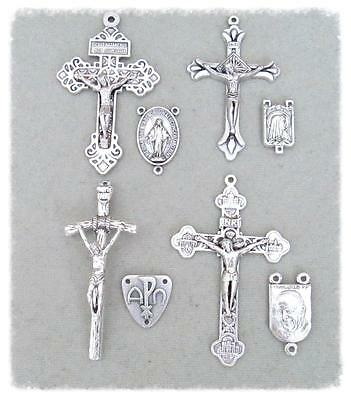 8 Crucifixes & Centers Making Rosary Rosaries ITALY Parts Centerpiece LARGE