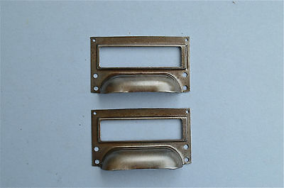 Pair Of Steel Filing Cabinet Label Handle File Drawer Pull Furniture Handles Fd1