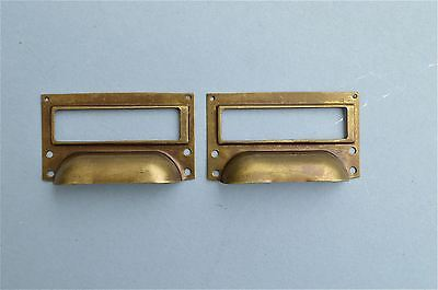 Pair Of Brass Filing Cabinet Label Handle File Drawer Pull Furniture Handles Fd2