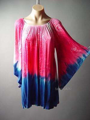 cd449a63c5906 Tie-Dye Paisley Off Shoulder Boho Flare Bell Sleeve Top Blouse 94 mv Tunic  S M L