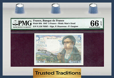 TT 1947 FRANCE 5 FRANCS PICK # 98b PMG 66 EPQ GEM UNCIRCULATED