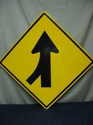 """NEW AUTHENTIC REAL LEFT MERGE ARROW TRAFFIC STREET SIGN 30"""" x 30"""" DOT"""