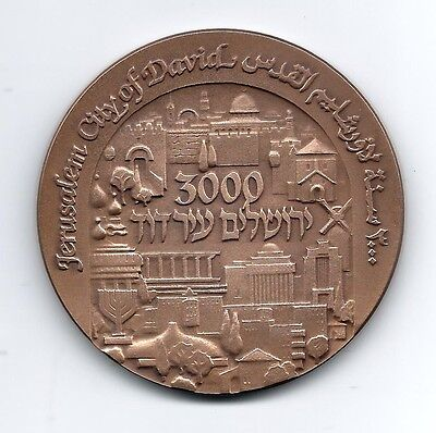 "Jerusalem ""City of David"" 3000th Years Israel State Bronze Medal by Enyedi / M41"