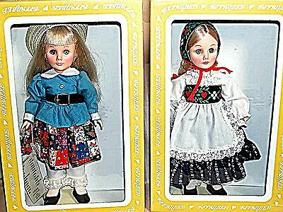 """Pair of Effanbee Dolls  Heidi and Pollyanna MIB 11""""  1980's with Doll Stands"""