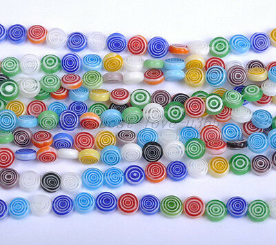 Wholesale Mixed FLAT Round MILLEFIORI Glass BEADS - Choose 6MM 8MM 10MM 12MM